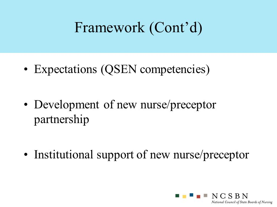 Framework (Cont'd) Expectations (QSEN competencies)