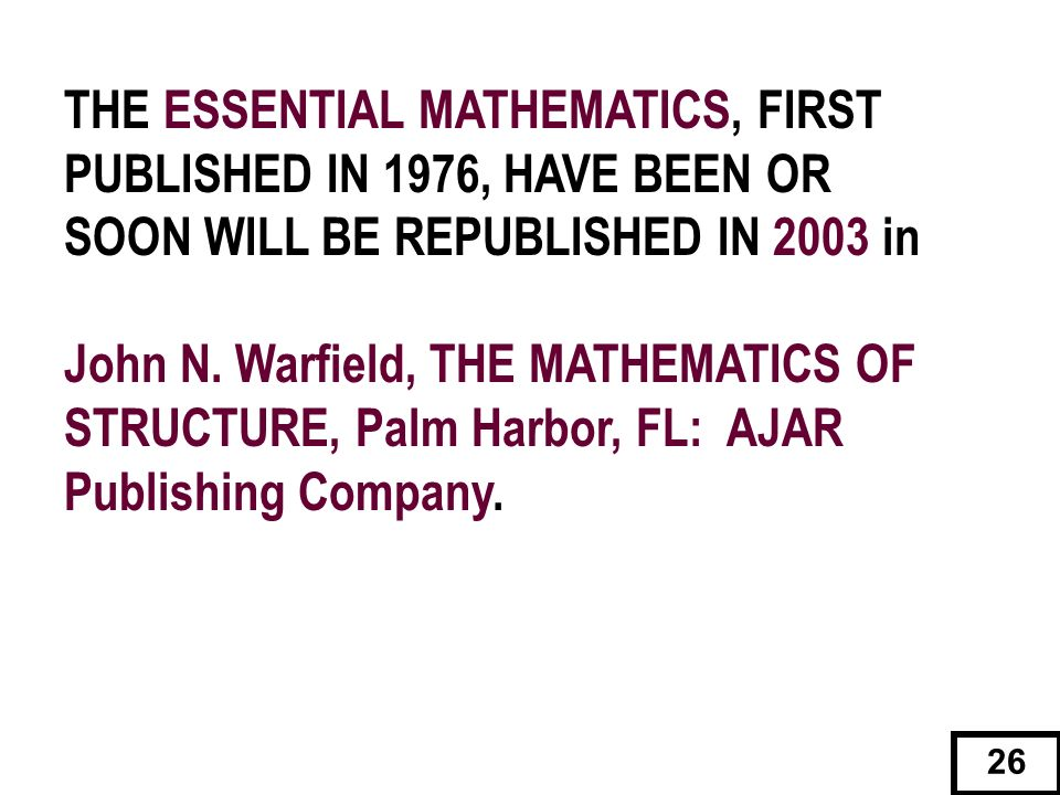 THE ESSENTIAL MATHEMATICS, FIRST