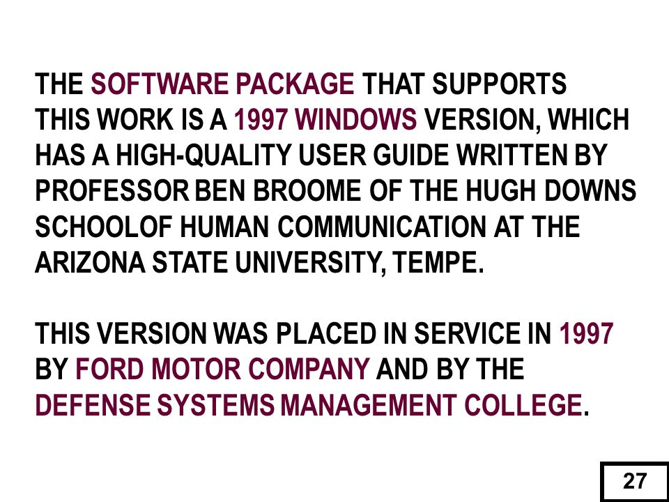 THE SOFTWARE PACKAGE THAT SUPPORTS