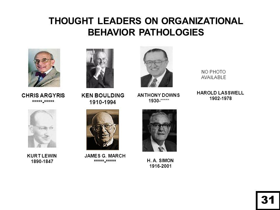 31 THOUGHT LEADERS ON ORGANIZATIONAL BEHAVIOR PATHOLOGIES