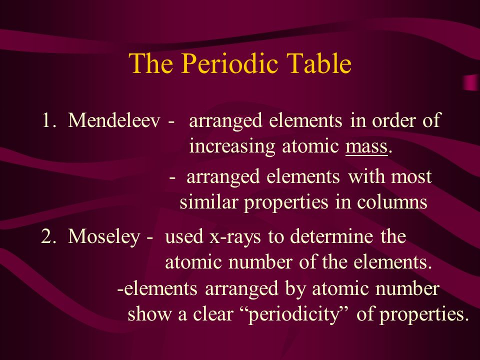 The periodic table and periodic trends ppt download the periodic table 1 mendeleev arranged elements in order of urtaz Image collections