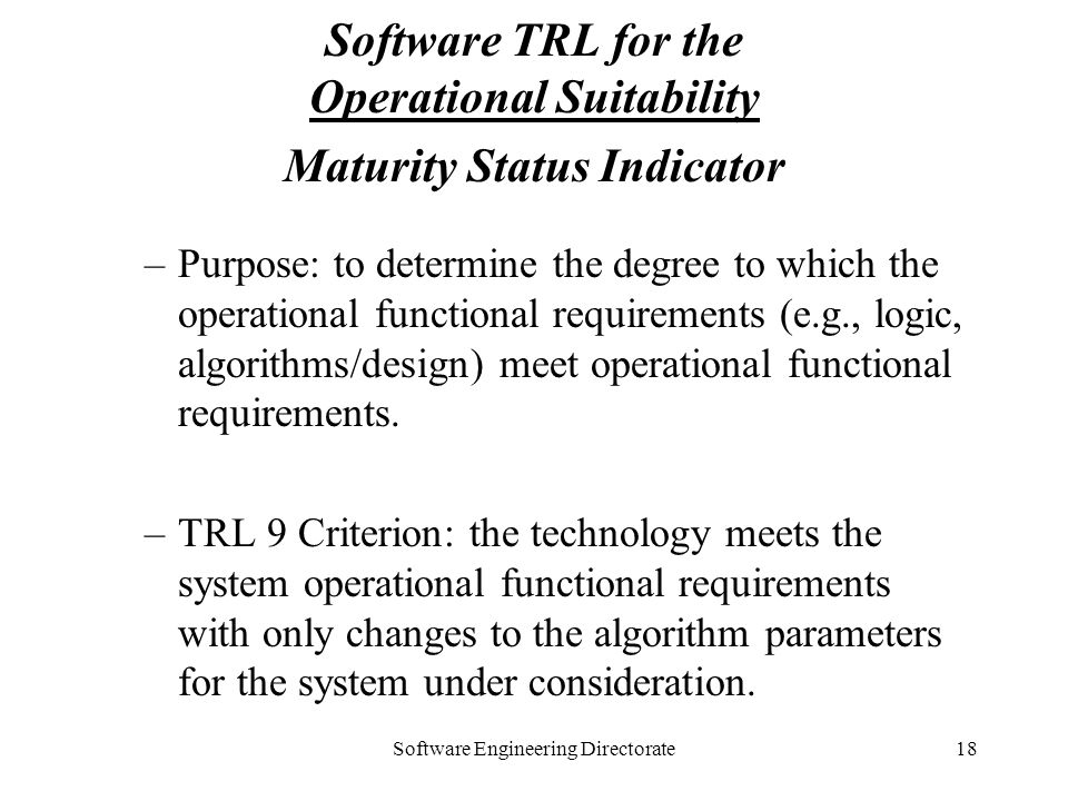 Software TRL for the Operational Suitability Maturity Status Indicator