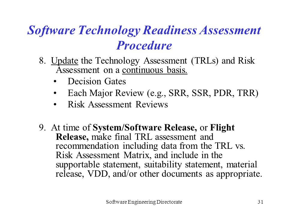 Software Technology Readiness Assessment Procedure