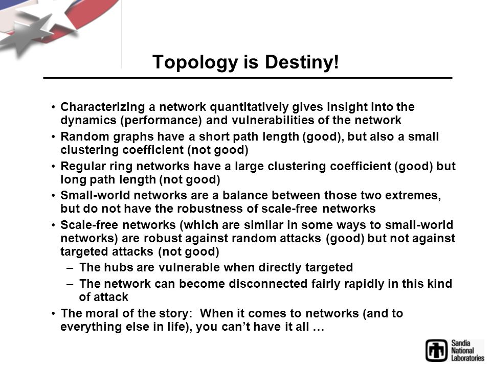 Topology is Destiny! Characterizing a network quantitatively gives insight into the dynamics (performance) and vulnerabilities of the network.