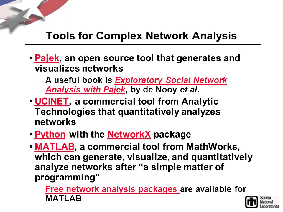 Tools for Complex Network Analysis