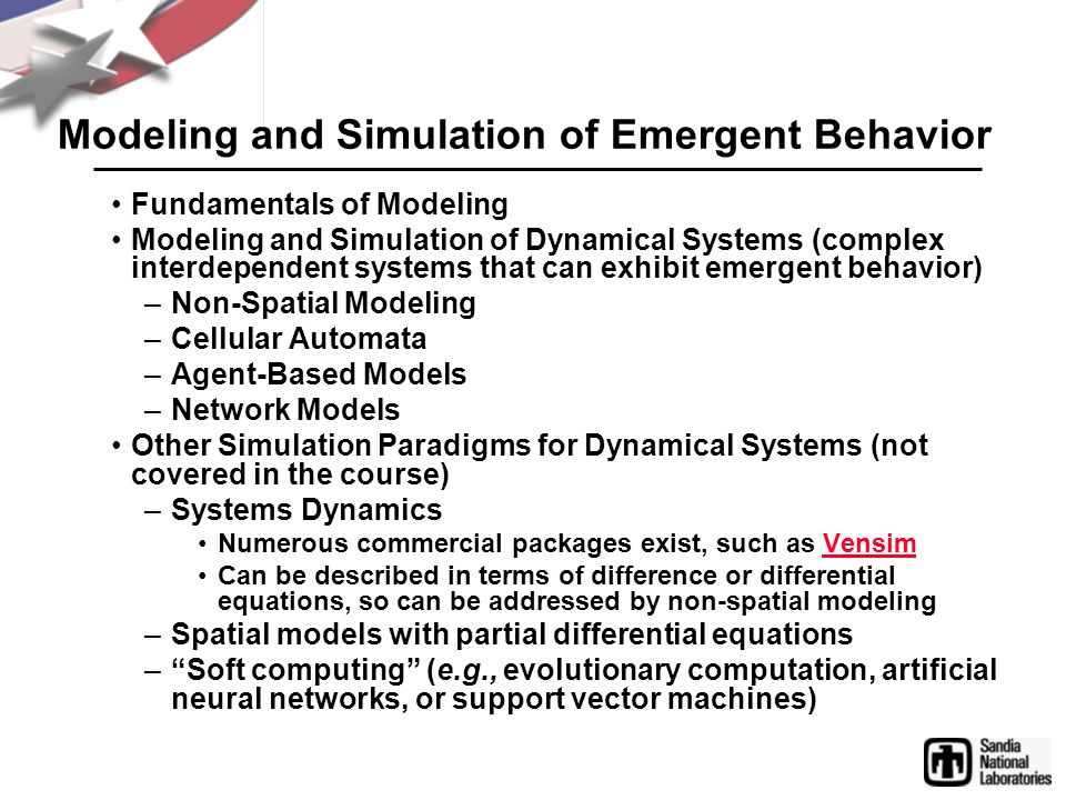 Modeling and Simulation of Emergent Behavior