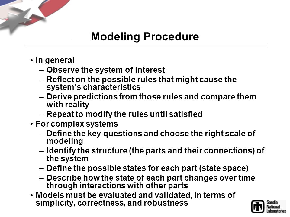 Modeling Procedure In general Observe the system of interest