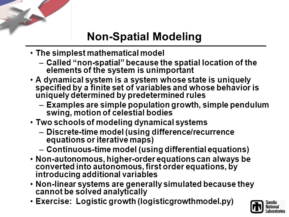 Non-Spatial Modeling The simplest mathematical model