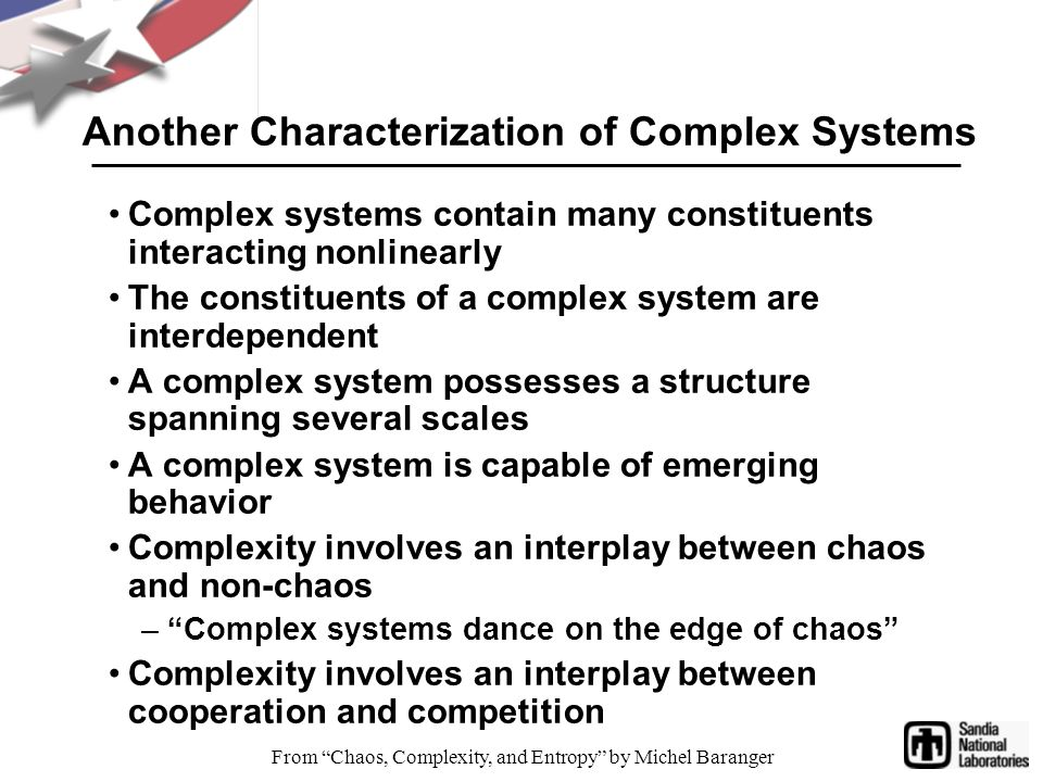 Another Characterization of Complex Systems