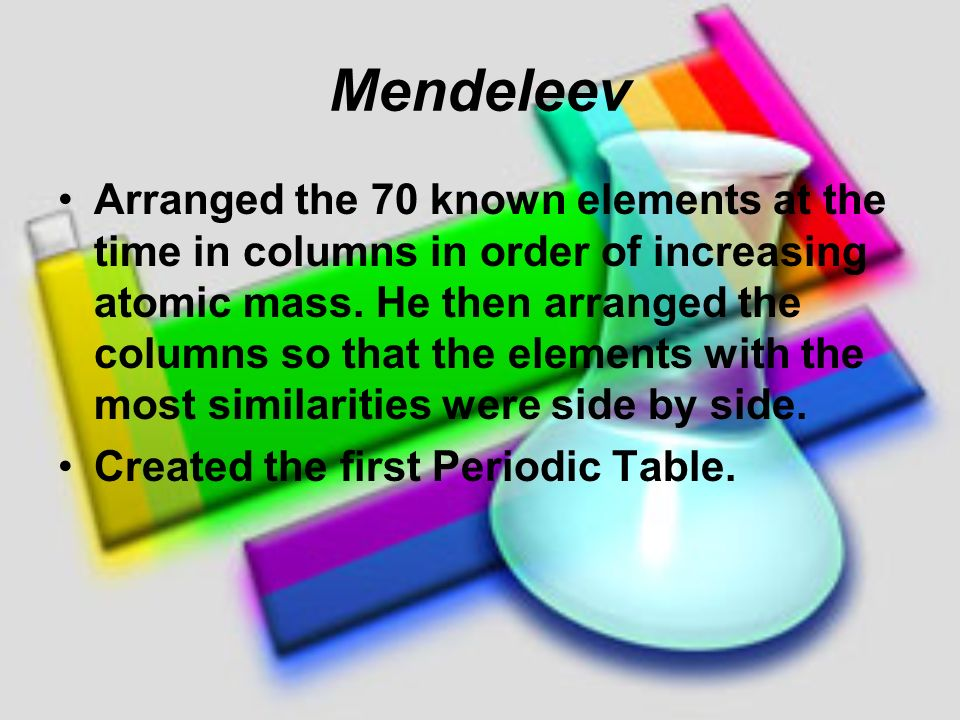 Mendeleev arranged the 70 known elements at the time in columns in mendeleev arranged the 70 known elements at the time in columns in order of increasing atomic mass he then arranged the columns so that the elements with urtaz Images