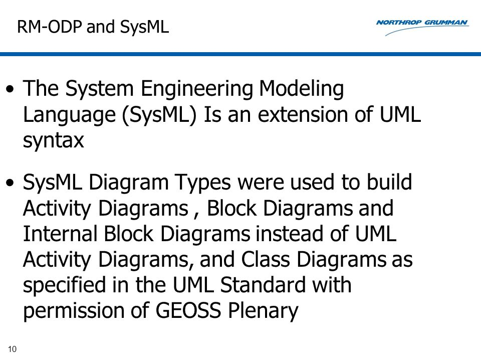 RM-ODP and SysML The System Engineering Modeling Language (SysML) Is an extension of UML syntax.