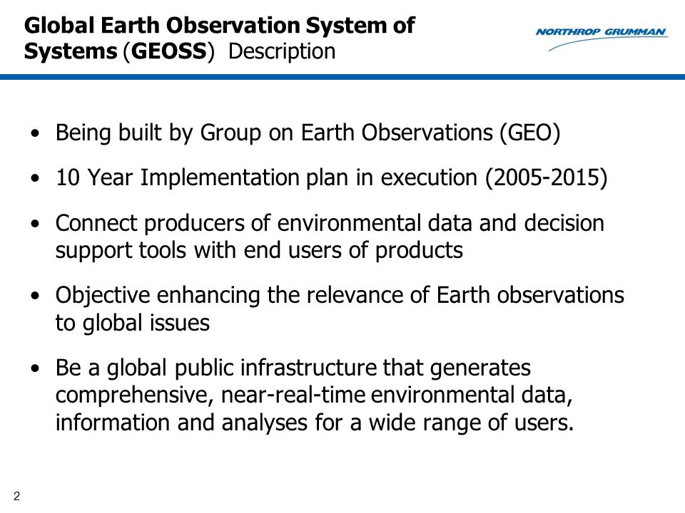 Global Earth Observation System of Systems (GEOSS) Description