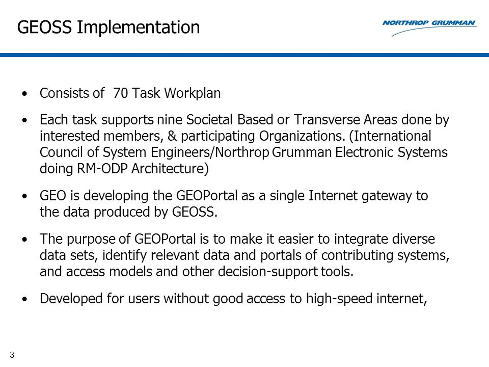 GEOSS Implementation Consists of 70 Task Workplan