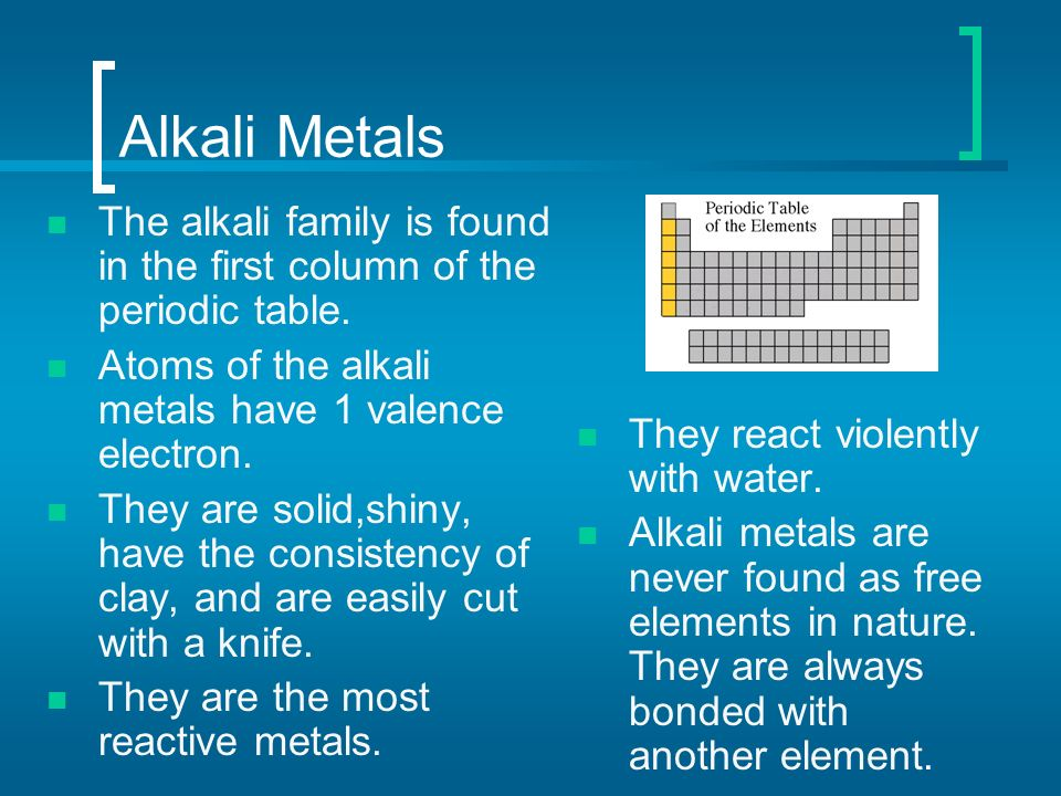 Periodic table periodic table of elements most reactive metal periodic table of elements ppt video online download urtaz Choice Image