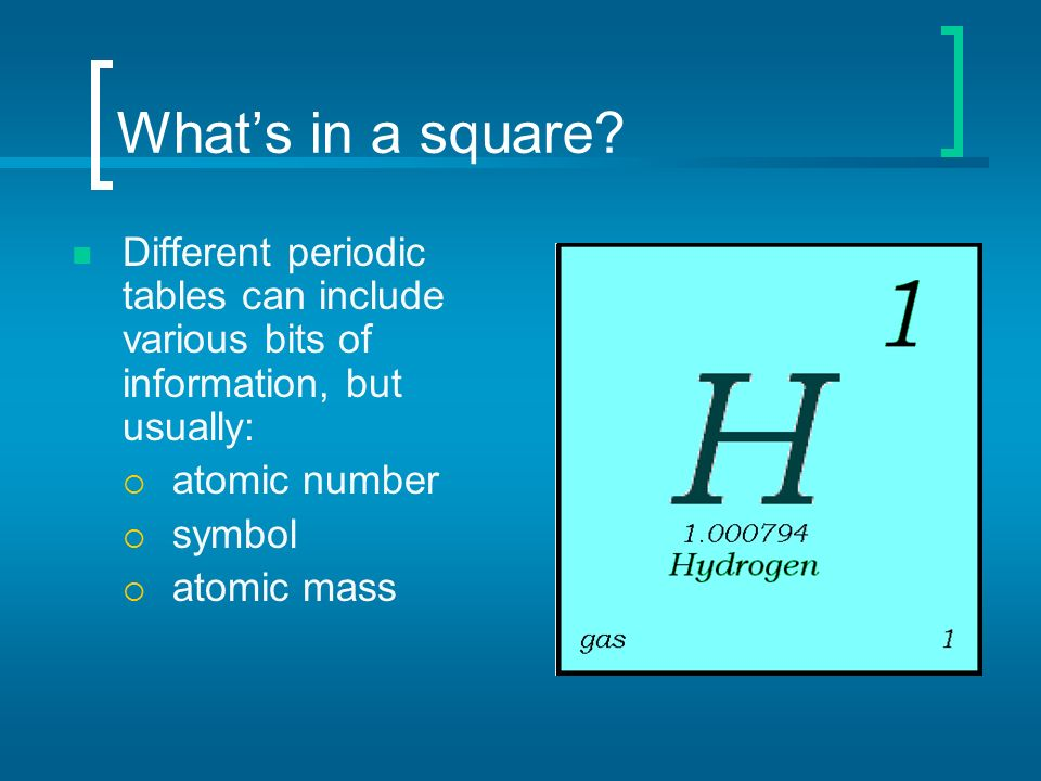 Periodic table of elements ppt video online download whats in a square different periodic tables can include various bits of information but usually urtaz
