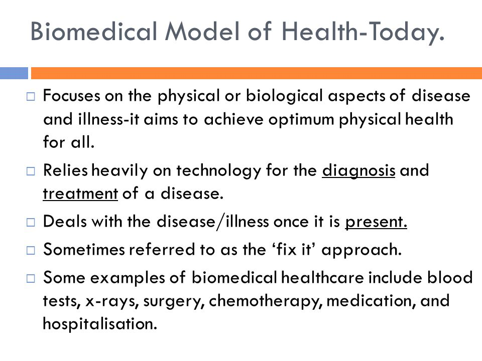 models of health for health and The bio-medical and social models of health offer different views of health and  disease outline the main characteristics of each model and.