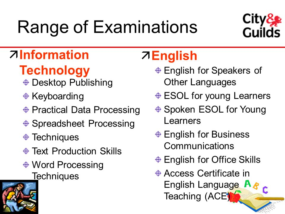 Range of Examinations Information Technology English