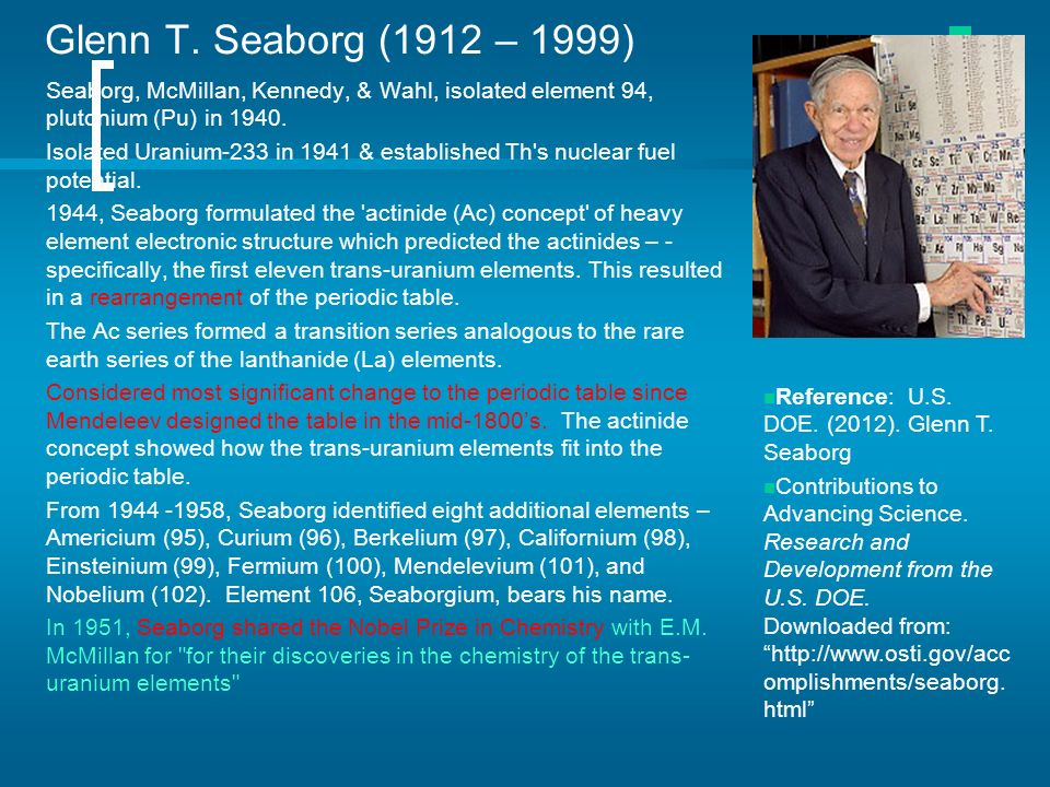Periodic Table glenn seaborg contributions to the modern periodic table : Periodic Table of Elements - ppt download