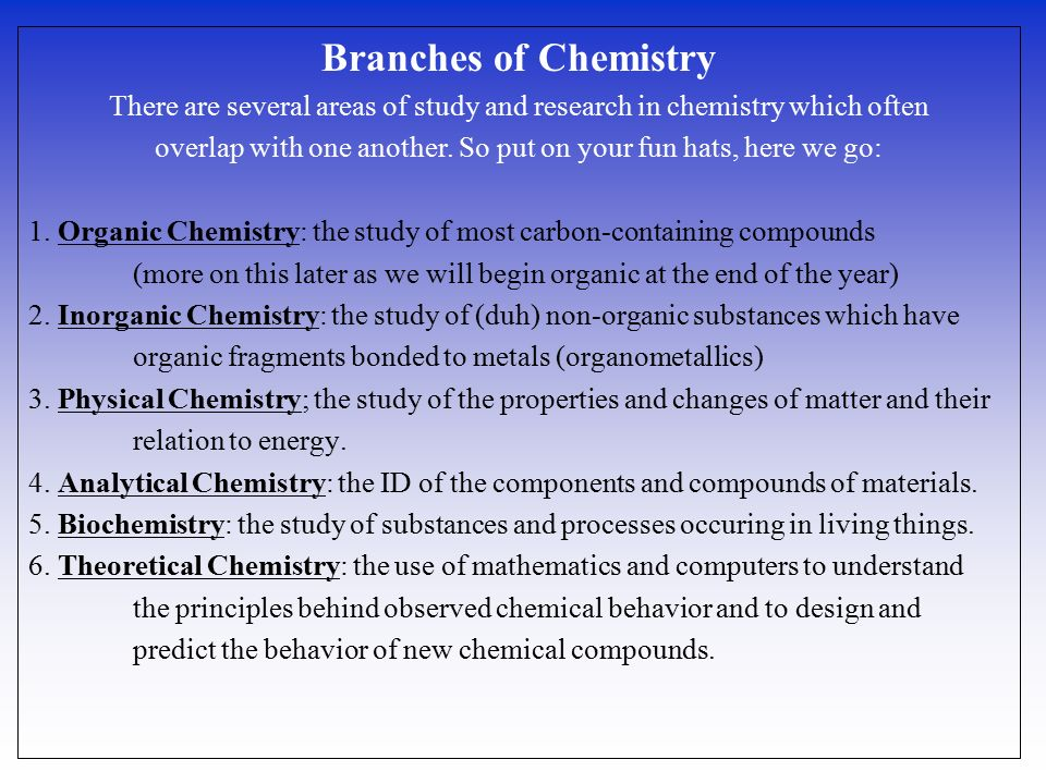 Chemistry: University and Study Area