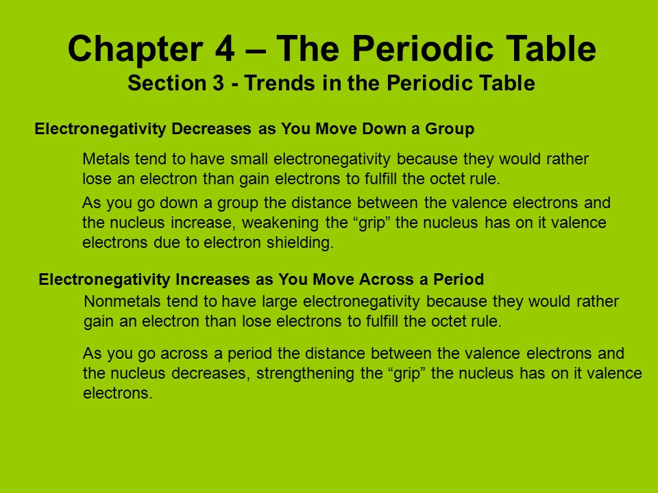 chapter 4 the periodic table - Periodic Table As You Move Down
