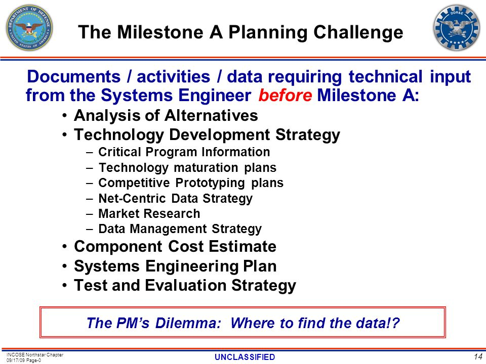 The Milestone A Planning Challenge