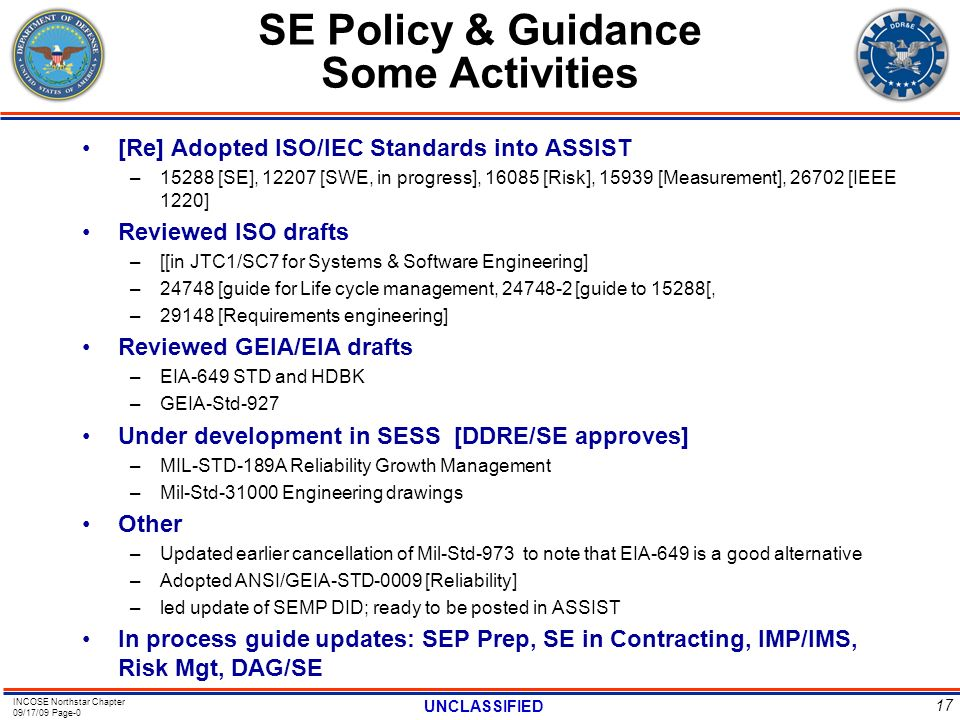 SE Policy & Guidance Some Activities