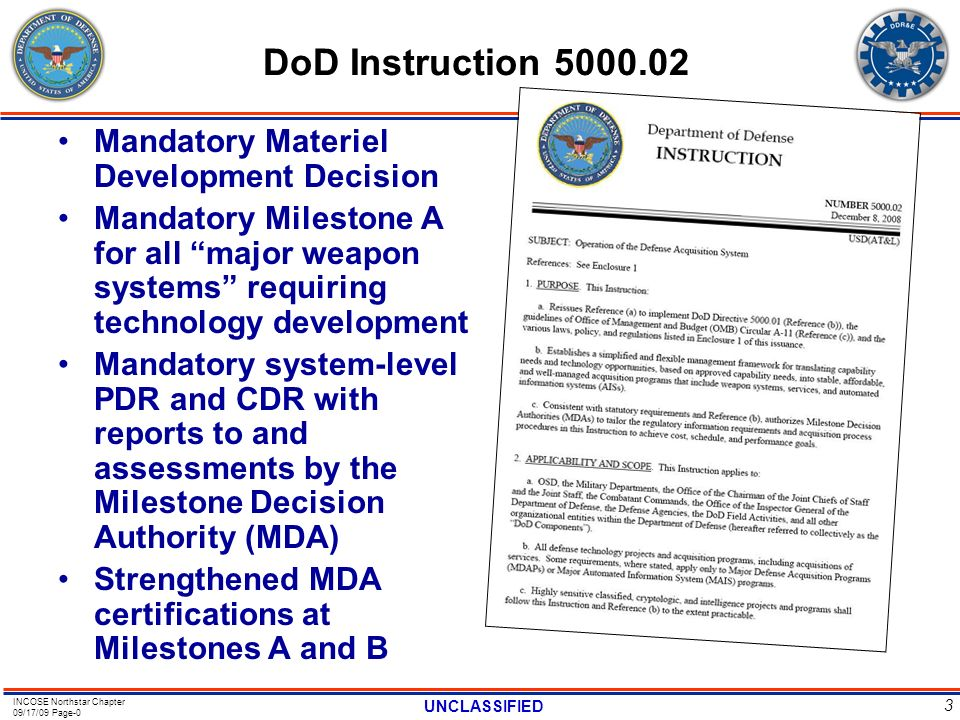 DoD Instruction 5000.02 Mandatory Materiel Development Decision