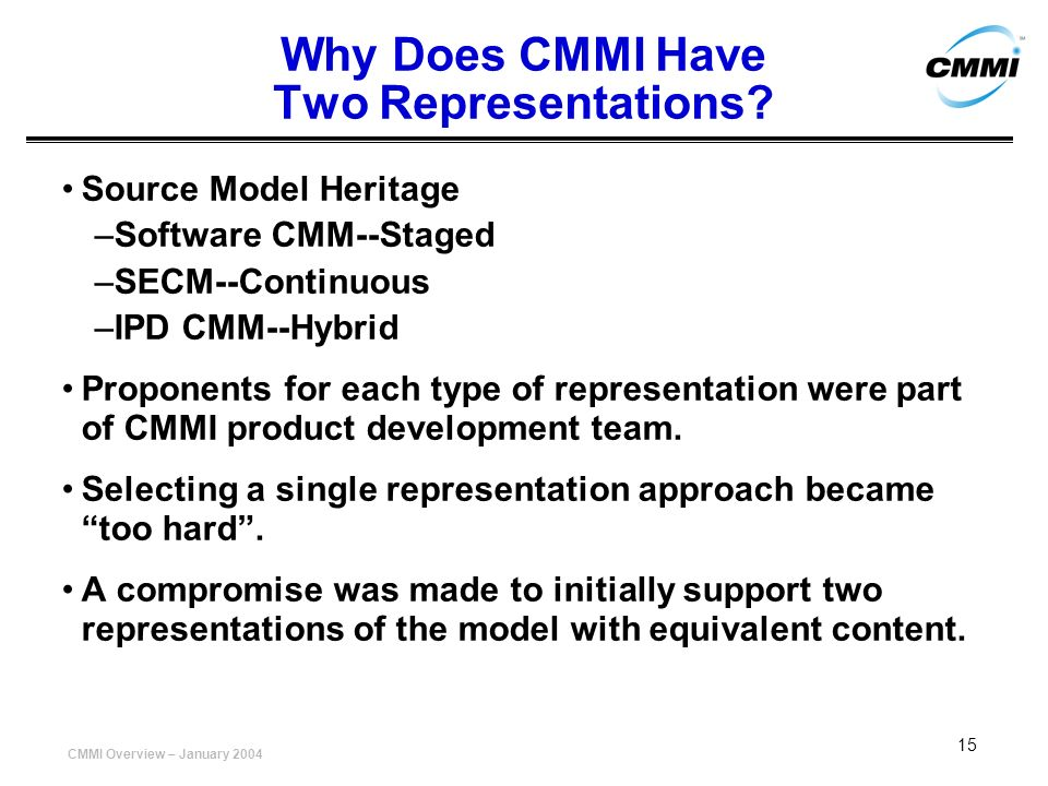 Why Does CMMI Have Two Representations