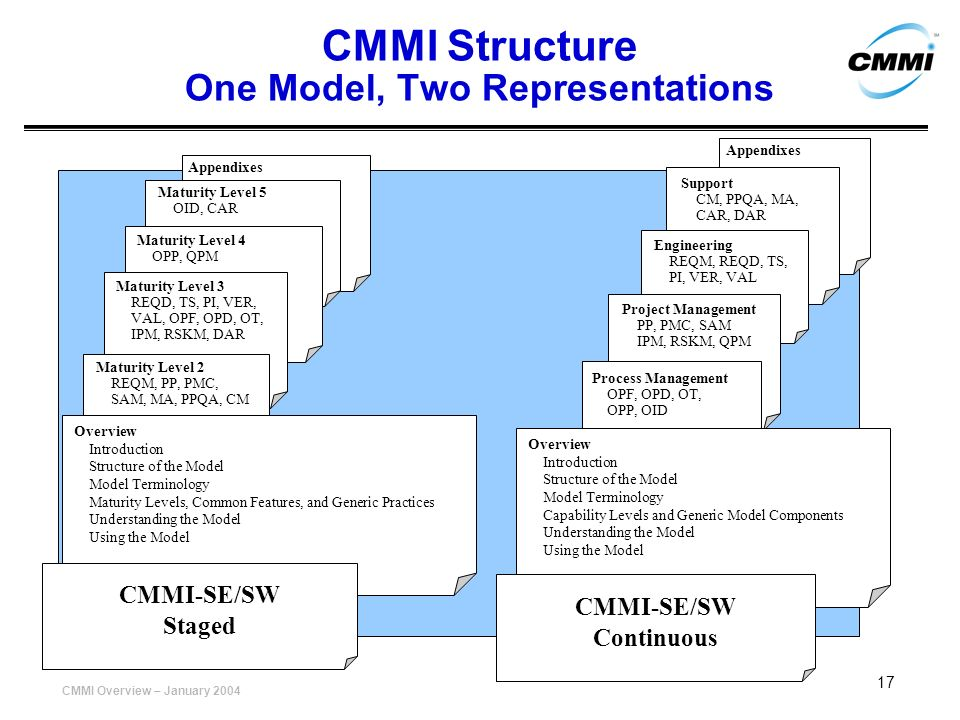 CMMI Structure One Model, Two Representations