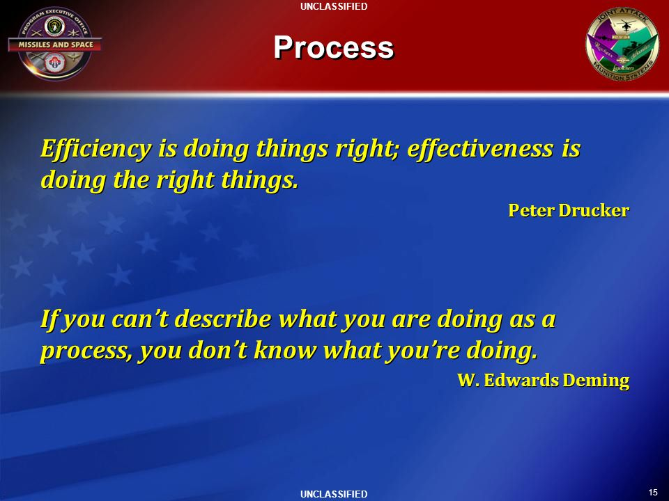 Process Efficiency is doing things right; effectiveness is doing the right things. Peter Drucker.
