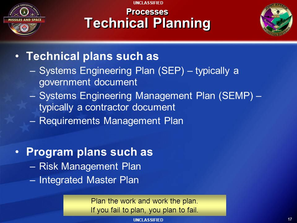 Processes Technical Planning
