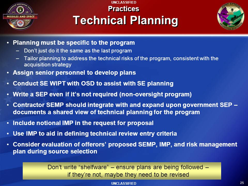 Practices Technical Planning