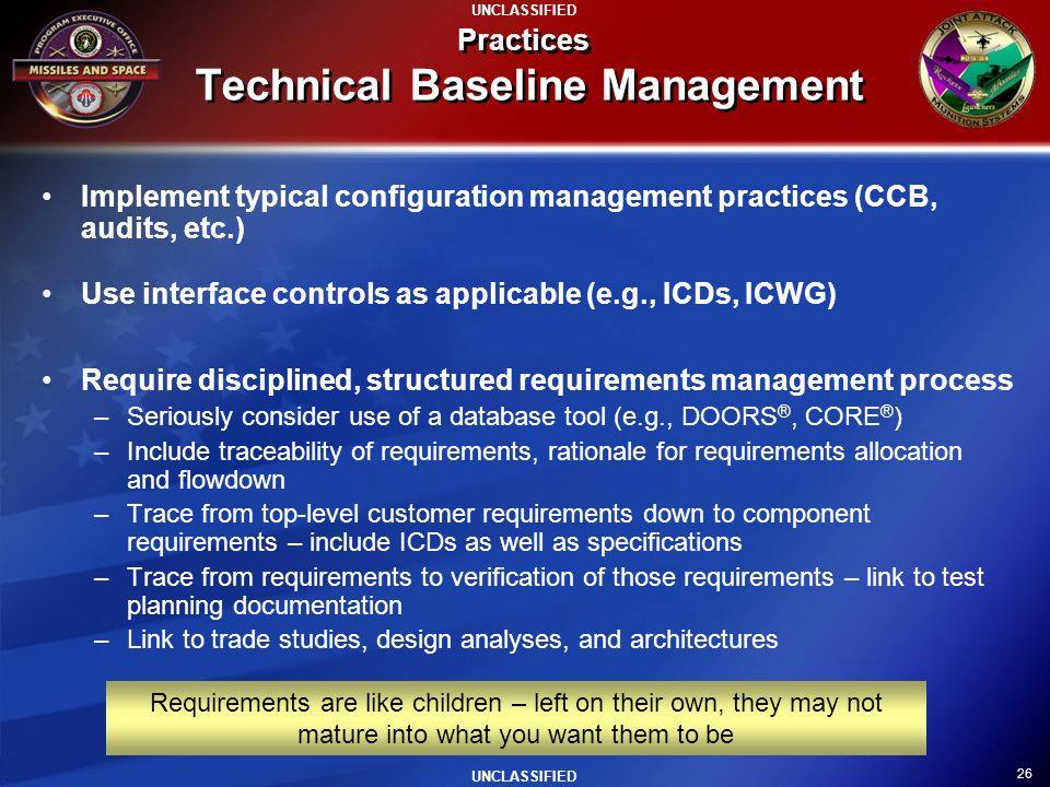 Practices Technical Baseline Management
