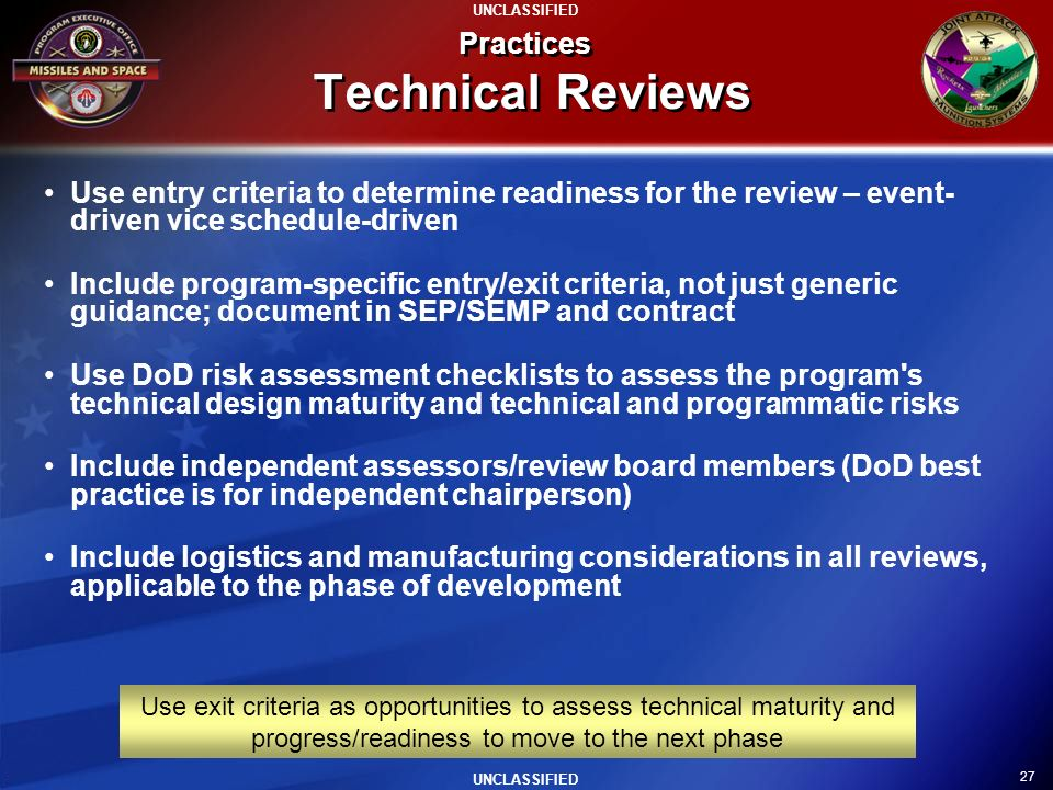 Practices Technical Reviews