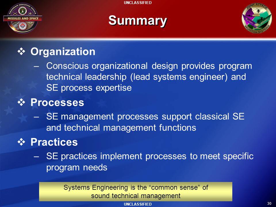 Summary Organization Processes Practices
