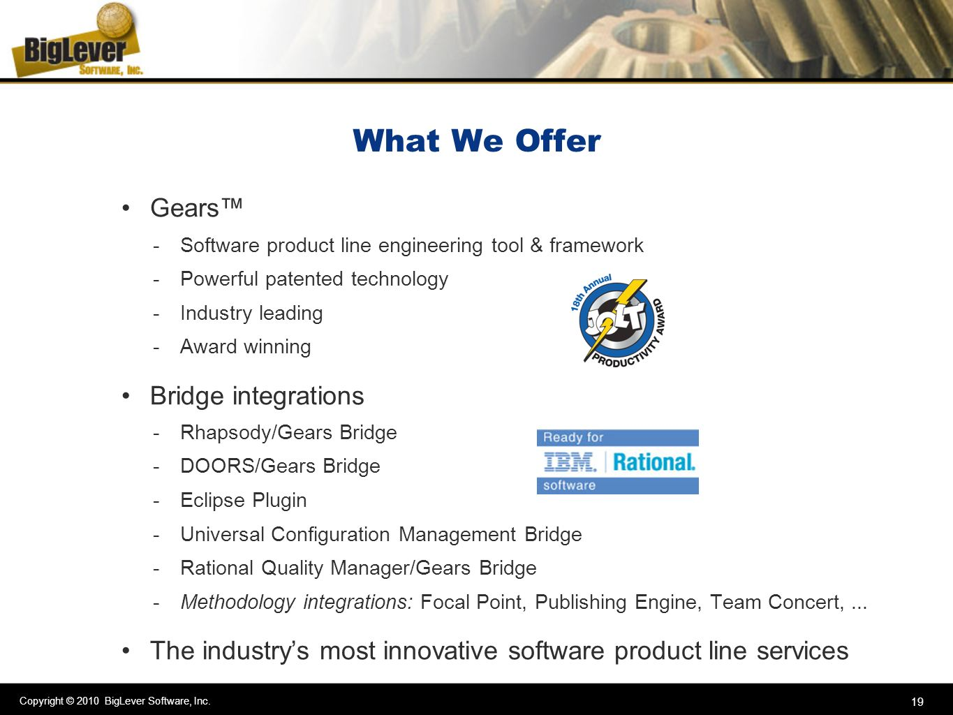 What We Offer Gears™ Bridge integrations