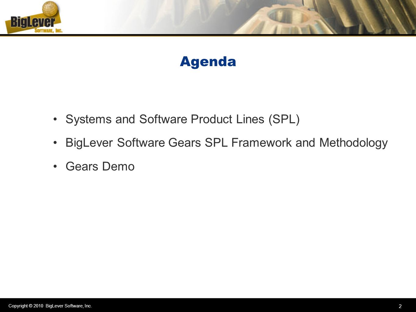 Agenda Systems and Software Product Lines (SPL)