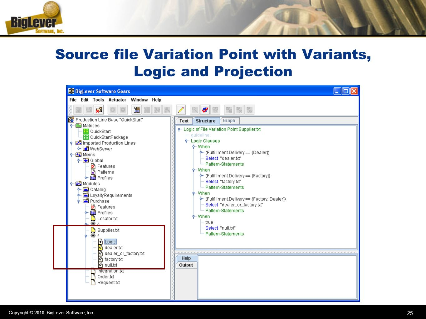 Source file Variation Point with Variants, Logic and Projection