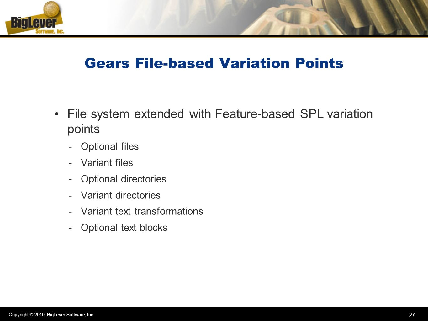 Gears File-based Variation Points