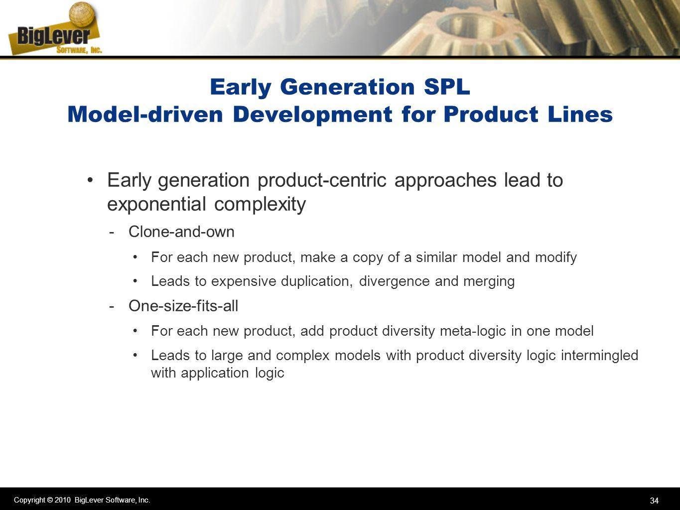Early Generation SPL Model-driven Development for Product Lines