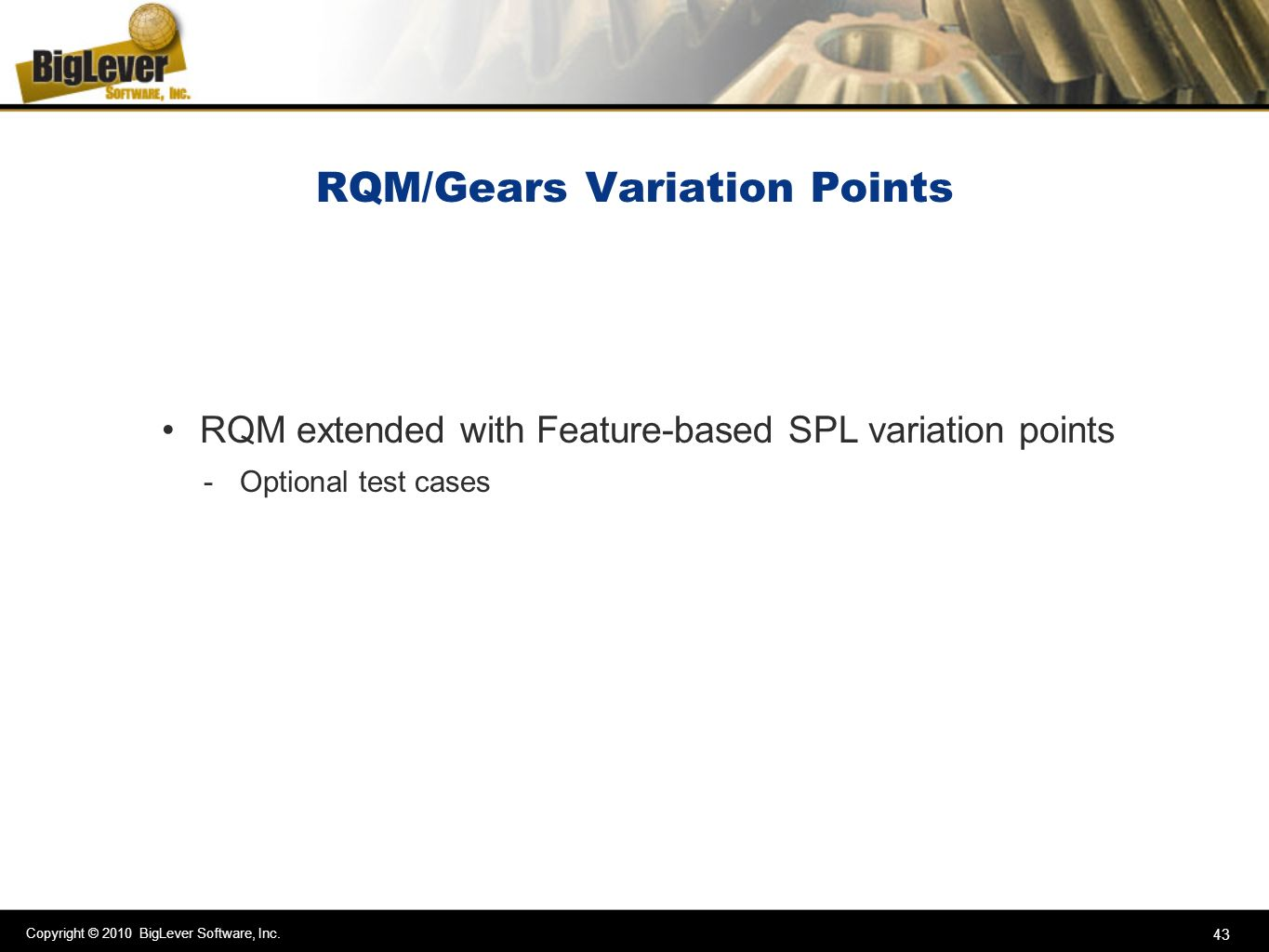 RQM/Gears Variation Points