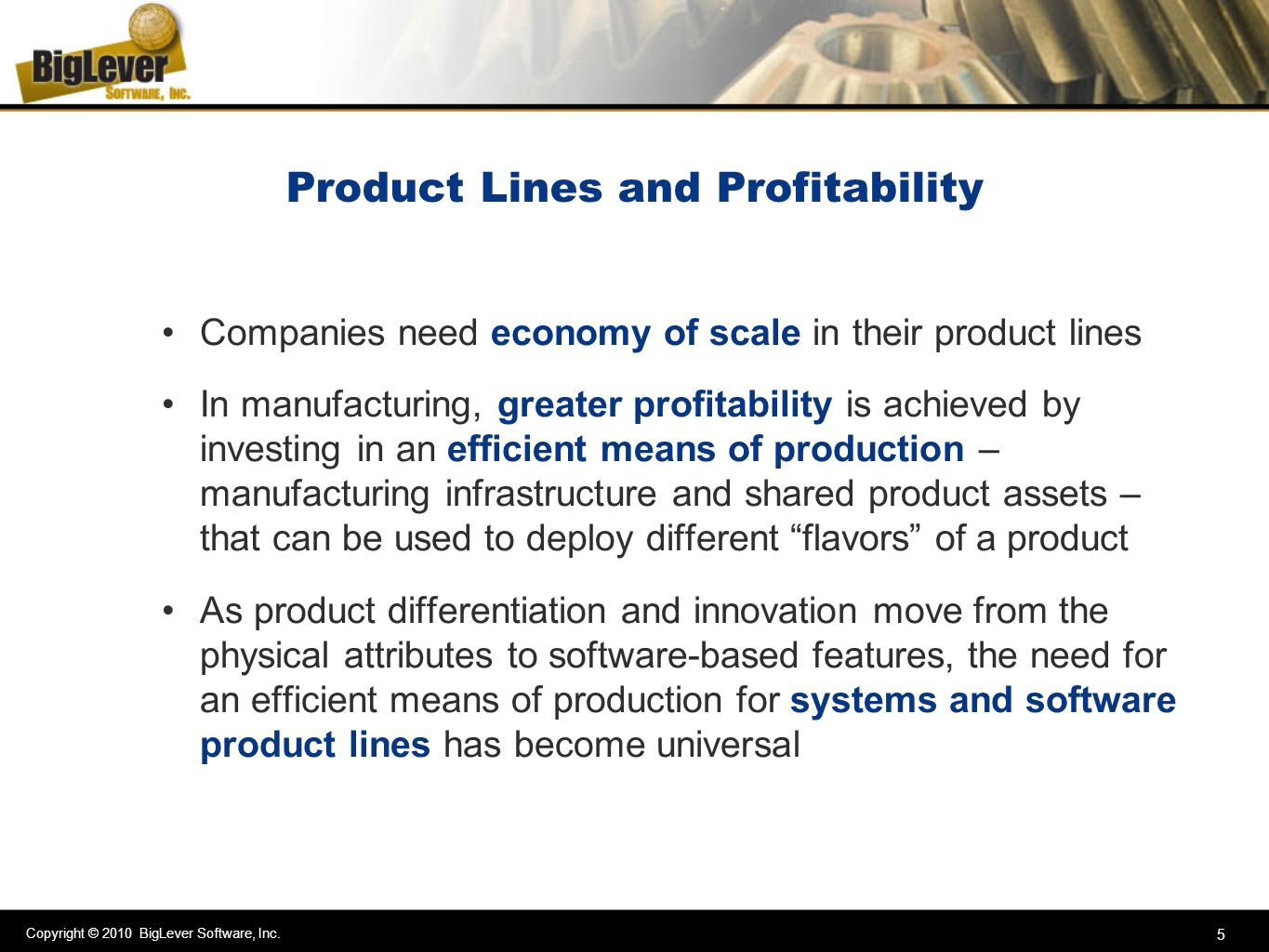 Product Lines and Profitability