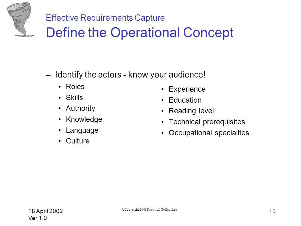 Effective Requirements Capture Define the Operational Concept