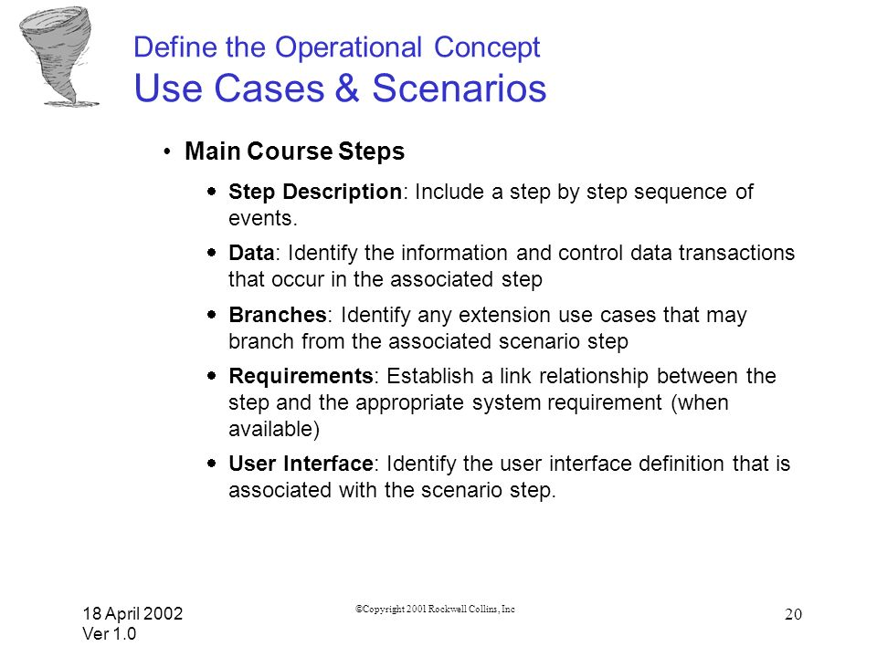 Define the Operational Concept Use Cases & Scenarios