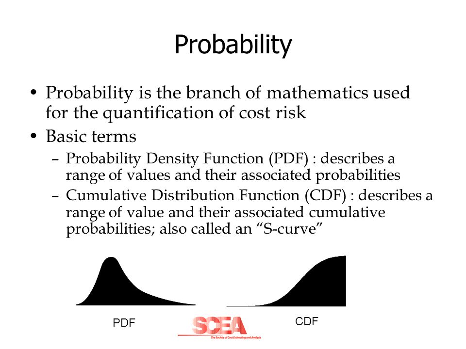 Probability Probability is the branch of mathematics used for the quantification of cost risk. Basic terms.