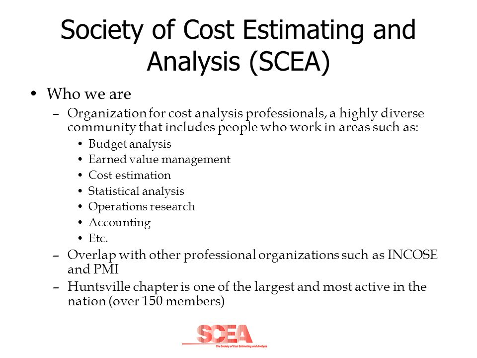 Society of Cost Estimating and Analysis (SCEA)