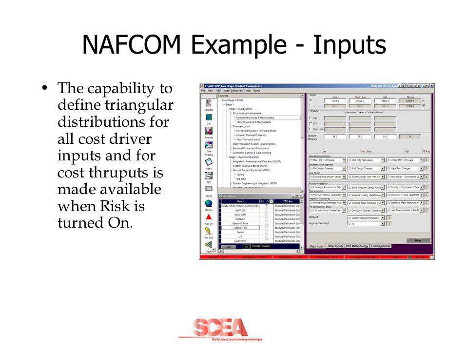 NAFCOM Example - Inputs