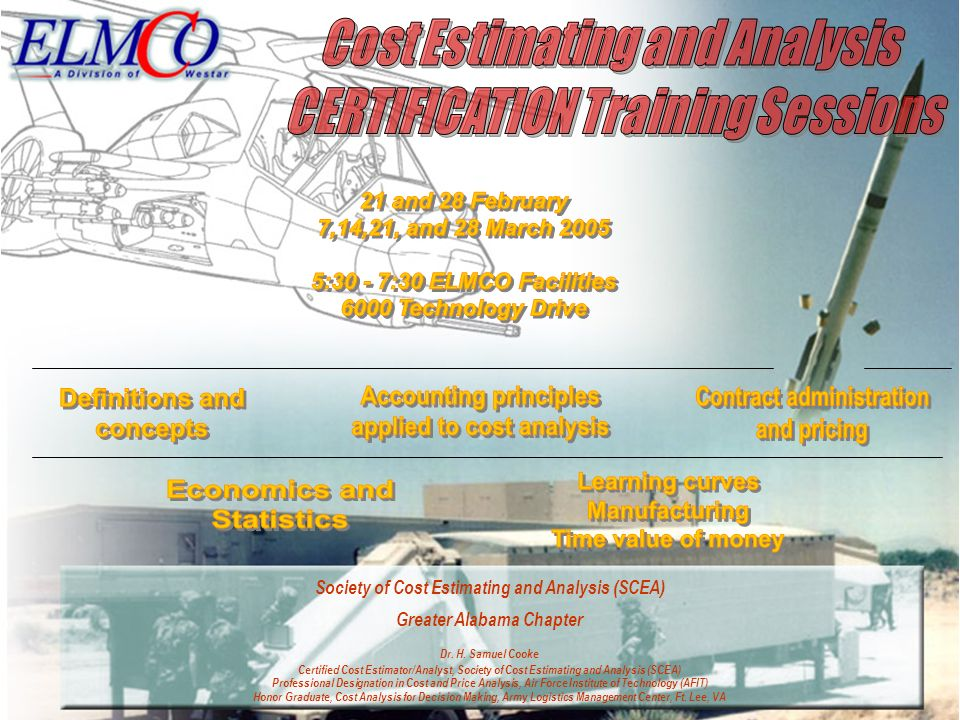 Cost Estimating and Analysis CERTIFICATION Training Sessions
