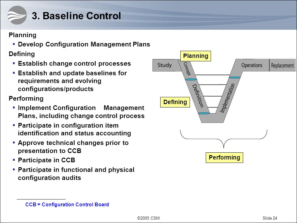 3. Baseline Control Planning Develop Configuration Management Plans