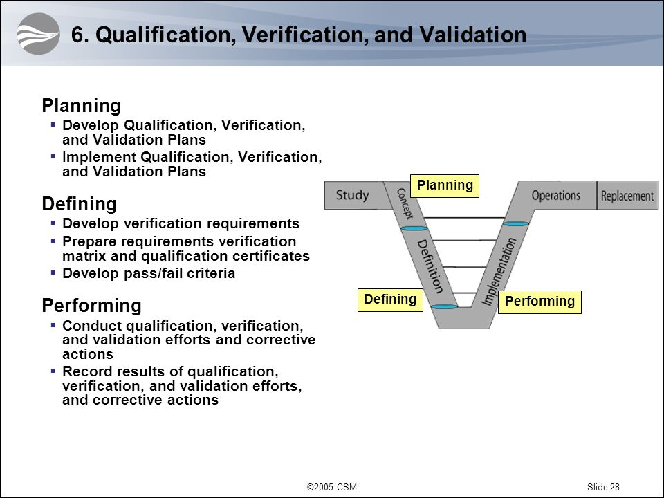 6. Qualification, Verification, and Validation